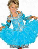 Wholesale 2014 Beaded Halter off shoulder Tutu Girl s Pageant Dresses Tiers Organza Off Shoulder Backless Mini Girl Dress Toddler Princess Gowns B526