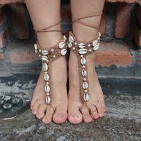 Wholesale 2016 Hot Sale Snake Barefoot Sandals Crochet Cotton Foot Jewelry Beach Wedding Bride Anklet Foot Bracelet