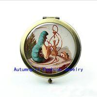 alice photo - New Arrival Alice and the Catepillar Photo Mirror Glass Pocket Mirror Bronze Cute Compact Mirror