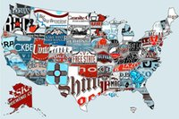 beer map - 24x36 inch piece map of USA American beer Canvas Poster For home house office hotel restaurant Art Deco Vogue