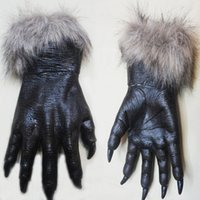 claw gloves - 2015 Halloween Props New Arrival Hot Rubber Werewolf Paws Claws Cosplay Gloves Creepy Costume Theater Toys