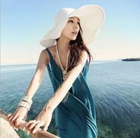 Wholesale 2015 New Arrival Lady Caps Wide Brim Hats Colors Beautiful Beach Straw Hats Women Plain Sun Hats Casual