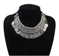 decorative tin - Vintage Tibetan Silver Jewelry Multi layer Alloy Decorative pattern Coin Pendants Fashion Colar Choker Necklaces For Women