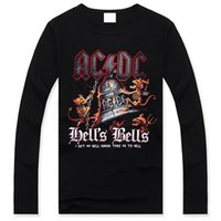 acdc hells - 2014 Fashion Black t Shirts Mens Long Cheap D Print ACDC Hells Bells Clothing For Men Hip Hop Trend Sleeve Brand Popular Design