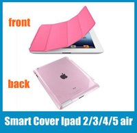 Wholesale Ipad Smart Cover Magnetic Sleep Wake PU Leather Case Crystle Hard Back Case Inch For Ipad Ipad Air Various Colors PCC008