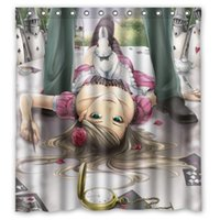 alice curtain - Polyester Shower Curtain Waterproof Print Popular Novel Alice in Wonderland Decorative Bathroom Screen quot x quot