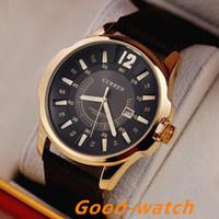 al por mayor relojes para hombres curren-Relojes militares de la marca de fábrica de CURREN 8123 de los hombres de lujo de la manera Relojes de los hombres de cuero de los hombres de cuarzo de los relojes de Relogio