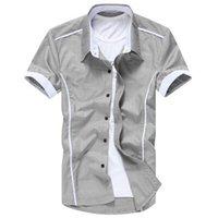 Wholesale 2014 Men New Arrial Spring Summer Fashion Slim Hot men s Shirts Short Sleeve Casual Shirts color M XXXXL