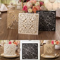 Wholesale Personalized Hollow Floral Wedding Invitation Cards New Arrival Black Gold White Laser Cutting Invitation Papers Free Printable Cards