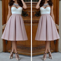 Wholesale skirt Women Vintage Stretch High Waist Plain Skater Flared Pleated Long Skirt Dress faldas tulle skirt