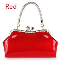 Wholesale paragraph patent leather bag lady trendy tote bag red wedding bride fashion handbags