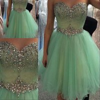 Wholesale Lace Home Dress - New Sweetheart A line Lace Up Prom dresses 2015 Custom Made Crystal Beaded Short Party Gowns Girls Home Coming Gowns 2016 New Fashion