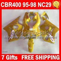 Wholesale 7gifts For HONDA CBR RR ALL Yellow Q155 CBR400RR CBR RR Gloss yellow CBR400 RR NC29 Fairing