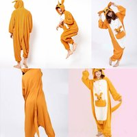 adult onesie - In Stock Kangaroo Pajamas Anime Pyjamas Cosplay Costume Adult Unisex Onesie Dress Sleepwear Halloween S M L XL VT