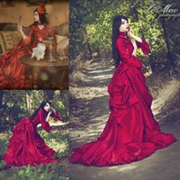 amazing balls - Vintage s Red Gothic Ball Gown Occasion Dresses Amazing Ruffles V neck Full length Long Sleeve Halloween dresses