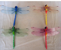 abstract curtains - 14x9CM D Curtain Decorative Stickers Pin Type Lifelike Dragonfly Colors Simulation Dragonflies Promotion Gifts