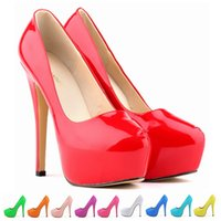 Wholesale Designer Ladies Platform Heel Shoes Almond Shaped Toes Womens Dress Shoes Patent Leather Material PU Lining Material