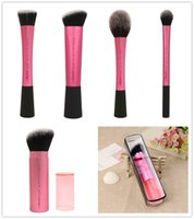 Wholesale RT Techniques Pink Single Piece Blush Sculpting Setting Stippling Retractable Kabubi Brush High Quality Face Definition makeup brushes DHL