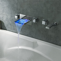 Wholesale 2015 New Arrival Wall Mounted LED Waterfall Bathtub Faucet Tub Filler Bath Tap