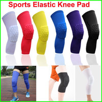 basketball braces - Sports Elastic Leg Knee Pad Support Brace Basketball Protector Gear breathable Honeycomb Kneepad colors Cycling Long Knee Protector Soft