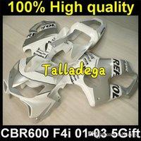 body kit - Plastic Body Carenado Fairing Kit Set For HONDA CBR600F4i CBR600 CBR F4i White Silver HR