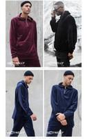designer mens clothing - Hip Hop Fashion Mens Velvet Hood Hoodies Tracksuit Urban Clothing Pocket Front Kanye West Designer Clothes Red Black Blue S XXL