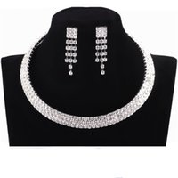man made diamond - New Designer Sexy Man Made Diamond Earrings Necklace Party Prom Formal Wedding Jewelry Sets Bridal Dress Accessories