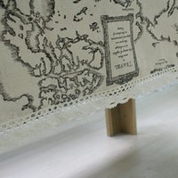 Wholesale New Arrival Table Cloth World Map High Quality Lace Tablecloth Decorative Elegant Table Cloth Linen Table Cover