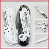Wholesale J5 Stereo Earphone mm In Ear Headphones Headset with Mic and Remote Control for Samsung Galaxy S3 S4 S5 S6 Note