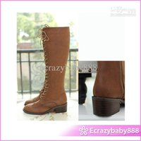 Cheap leather boots snow boots Ladylike High Heel Shoes Carve Patterns Genuine Leather Lace Up Long Boots