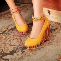 Wholesale Spring and Fall New Arrival Wedge Shoes Women High Heels Platform Pumps elegant beaded WED