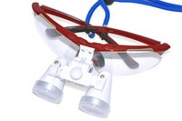 Wholesale Red Dental Surgical Binocular Loupes X mm Optical Glass Loupe LED Head Lamp