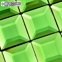 Wholesale Kindergarten Playground interior decoration backdrop stickers pure green face milling crystal glass mosaic tiles