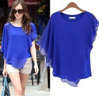 Crew Neck bat sleeve tops women - 2015 Summer Europe Style Dresses Woman lady Blouses Bat Sleeves T Shirt Round Neck Chiffon Tops Sexy Elegant sizeS XL Blue Yellow Khaki