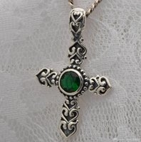 cross necklace - Charm fashion non mainstream personality exaggerated sterling silver natural emerald cross pendant necklace Men and women all appropriat