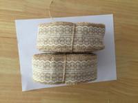 Wholesale 10 meter Natural Jute Burlap Hessian Ribbon with ivory Lace Trims Tape Rustic Wedding Decor