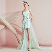 basil purple ruffles - Mint Green Short Prom Dresses Spring Basil Soda Special Occasion Party Dresses Appliques Satin Tulle Sheath Long Backless Evening Gowns