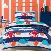 Wholesale Sea Creature set Duver Cover Set Children Bedding Set Single Quilt Cover Pillowcase Cover Cartoon Printed Bedclothes Kids