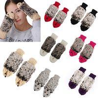 beauty gloves knitting - Hot Sales Women Ladies Gloves Mittens Cute Beauty Cartoon Hedgehog Knitting Winter Warmer EA36