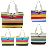 Wholesale Hot Canvas Women Bag Fashion Colorful Striped Women s Handbags Shoulder Bag Ladies Casual Shopping Bags Colors choose DHL Free