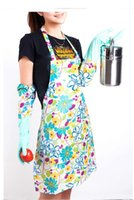 Household Gloves - long flowers household latex gloves with velvet for kitchen car A pair wonder woman waterproof salon apron cooking