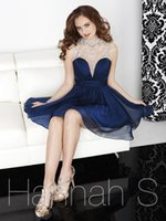 Wholesale 2016 New Navy Blue Mint Green Short Homecoming Dresses Chiffon Beading Prom Gown A Line Cocktail Party Dresses
