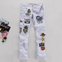 air force badge - New White Men s Jeans Air Force Badge Cotton Slim Fit Mens Jeans Patches Distressed Ripped Embroidery Jeans