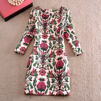 Cheap Wholesale new women's European and American retro ethnic style color printing thin Slim Sleeve Dress Autumn
