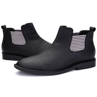 Wholesale Italian Fashion Men Stylish Genuine Leather Ankle Oxfords Boots Mens Pointed Toe Slip on Martin Shoes Hand Made With Elastic Band Trendy New