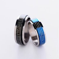 bible texts - New Fashion Rotation Bible Text Cross Titanium Steel Rings Domineering Men s Double Ring sa055