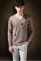 american mountain men - Applique craft pure mountain cashmere sweater v neck star fashion of men s sweaters All show man as warm mail