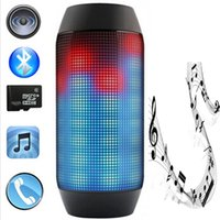 Wholesale 2015 New Pulse Portable Bluetooth Speaker Super Bass Wireless Mini Speakers Sound Box Built in Flash LED Light Mic TF AUX USB Disck DHL