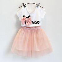 Wholesale Girls Sets Summer girl Sweet bow short sleeve T shirt veil tutu skirt suit children suits kids clothing
