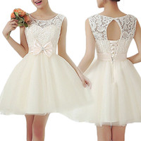 Wholesale S5Q Women Lace Bodycon Cocktail Evening Party dress Lady Sleeveless Short Mini Dress AAAELK